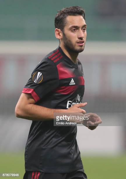 Hakan Calhanoglu of AC Milan looks on during the UEFA Europa League group D match between AC Milan and Austria Wien at Stadio Giuseppe Meazza on...