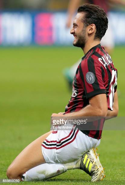 Hakan Calhanoglu of AC Milan reacts during the UEFA Europa League Qualifying PlayOffs round first leg match between AC Milan and KF Shkendija 79 at...