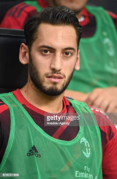 Hakan Calhanoglu of AC Milan sits on the bench during the UEFA Europa League third qualifying round 2nd leg match between AC Milan and CS U Cairova...