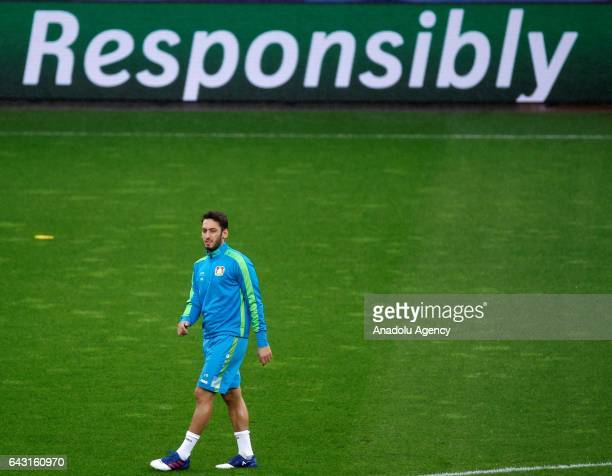 Hakan Calhanoglu of Bayer 04 Leverkusen attends a training session ahead of the UEFA Champions League round of sixteen soccer match between Bayer 04...