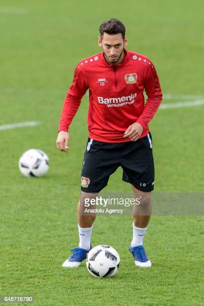 Hakan Calhanoglu of Bayer Leverkusen attends a training session nearby the BayArena in Leverkusen Germany on March 06 2017
