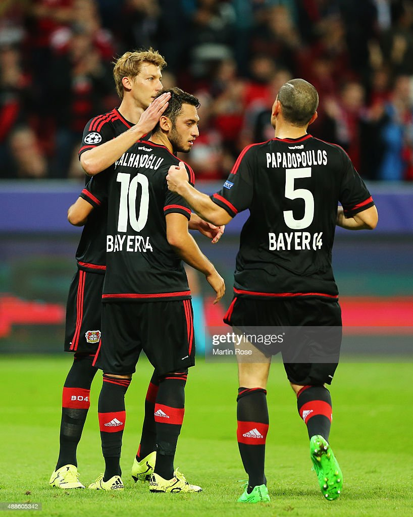 Hakan Calhanoglu (10) of Bayer Leverkusen celebrates scoring his penalty with team mates during the UEFA Champions League Group E match between Bayer 04 Leverkusen and FC BATE Borisov at BayArena on September 16, 2015 in Leverkusen, Germany.