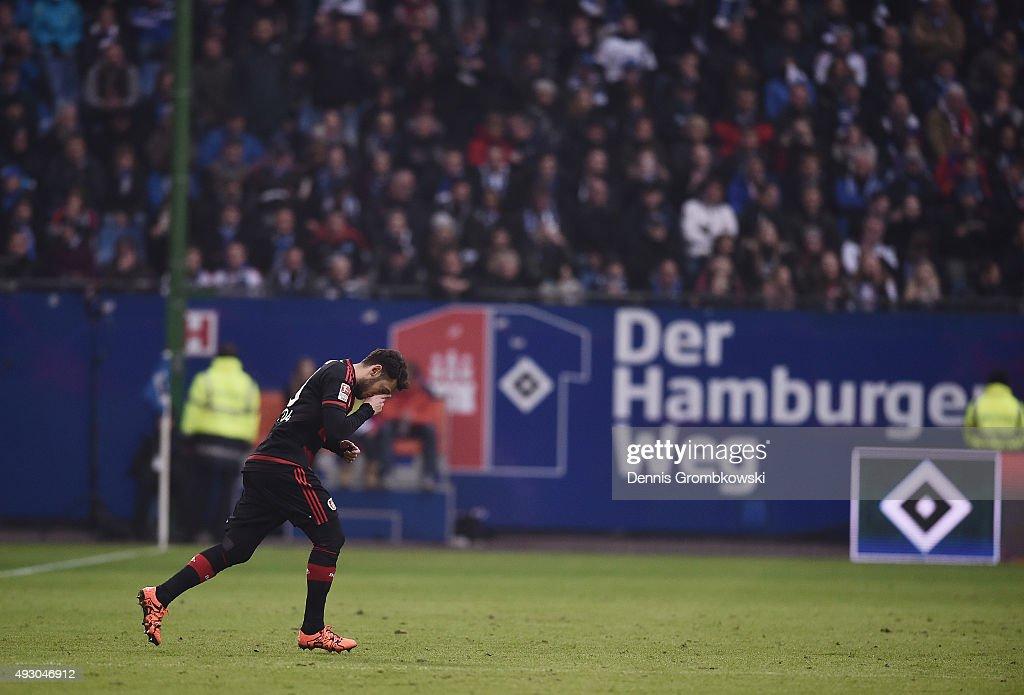 Hakan Calhanoglu of Bayer Leverkusen enters the pitch during the Bundesliga match between Hamburger SV and Bayer Leverkusen at Volksparkstadion on October 17, 2015 in Hamburg, Germany.
