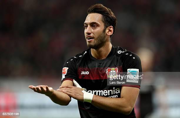 Hakan Calhanoglu of Bayer Leverkusen gestures during the Bundesliga match between Bayer 04 Leverkusen and Borussia Moenchengladbach at BayArena on...