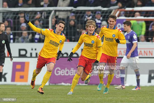 Hakan Calhanoglu of Karlsruhe celebrates a goal during the Third league match between VfL Osnabrueck and Karlsruher SC at Osnatel Arena on January 26...