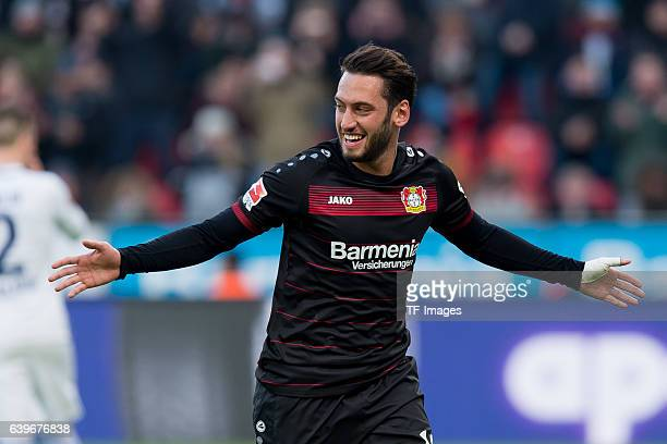 Hakan Calhanoglu of Leverkusen celebrates his goal during the Bundesliga match between Bayer 04 Leverkusen and Hertha BSC at BayArena on January 22...