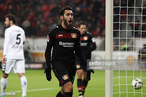 Hakan Calhanoglu of Leverkusen celebrates his team's first goal during the Bundesliga match between Bayer 04 Leverkusen and SC Freiburg at BayArena...