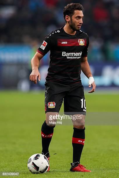Hakan Calhanoglu of Leverkusen controls the ball during the Bundesliga match between Bayer 04 Leverkusen and Hertha BSC at BayArena on January 22...