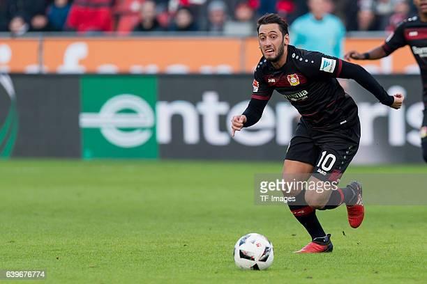 Hakan Calhanoglu of Leverkusen in action during the Bundesliga match between Bayer 04 Leverkusen and Hertha BSC at BayArena on January 22 2017 in...