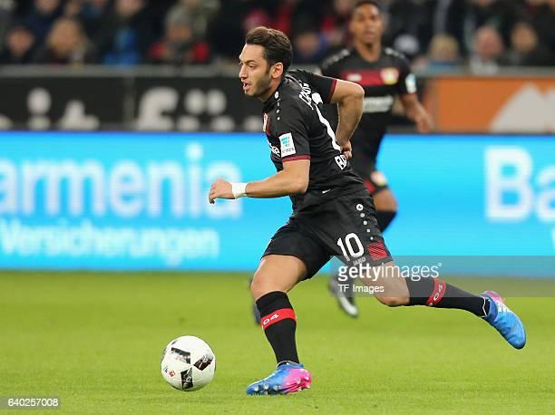 Hakan Calhanoglu of Leverkusen in action during the Bundesliga match between Bayer 04 Leverkusen and Borussia Moenchengladbach at BayArena on January...