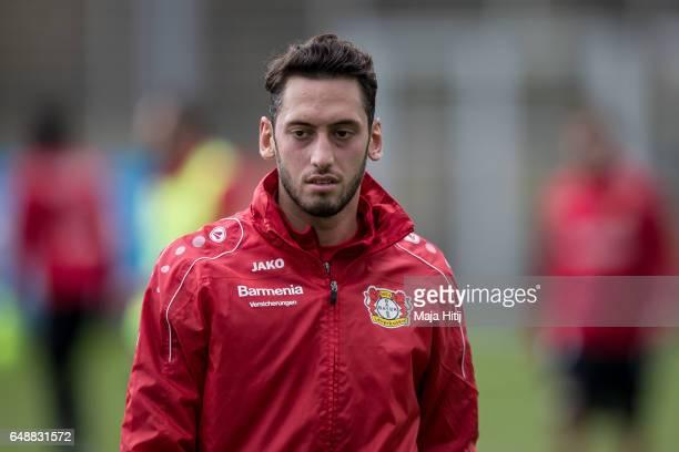 Hakan Calhanoglu of Leverkusen looks on after the training on March 6 2017 in Leverkusen Germany
