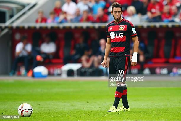 Hakan Calhanoglu of Leverkusen prepares for a freekick during the Bundesliga match between Bayer Leverkusen and SV Darmstadt 98 at BayArena on...
