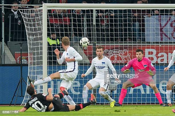 Hakan Calhanoglu of Leverkusen scores a goal during the Bundesliga match between Bayer 04 Leverkusen and Hertha BSC at BayArena on January 22 2017 in...