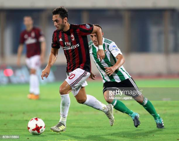 Hakan Calhanoglu of Milan during the PreSeason Friendly match between AC Milan and Villareal at Stadio Angelo Massimino on August 9 2017 in Catania...
