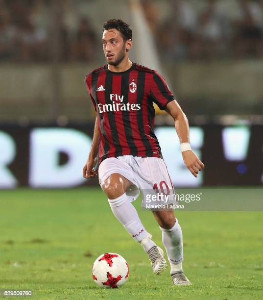 Hakan Calhanoglu of Millan during the PreSeason Friendly match between AC Milan and Villareal at Stadio Angelo Massimino on August 9 2017 in Catania...