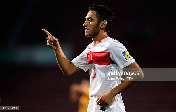 Hakan Calhanoglu of Turkey celebrates after scoring his team's first goal during the FIFA U20 World Cup Group C match between Australia and Turkey at...