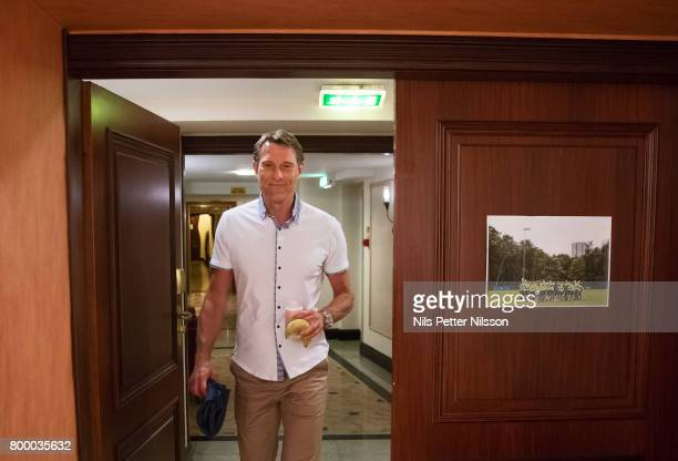 Hakan Ericson head coach of Sweden arrives to his last press conference as head coach for the Swedish U21 national team at IBB Grand Hotel...