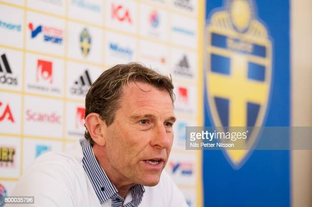 Hakan Ericson head coach of Sweden during his last press conference as head coach for the Swedish U21 national team at IBB Grand Hotel Lublinianka on...
