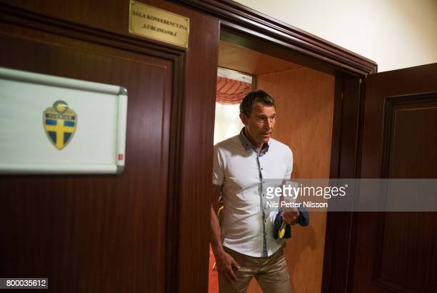Hakan Ericson head coach of Sweden leaves his last press conference as head coach for the Swedish U21 national team at IBB Grand Hotel Lublinianka on...