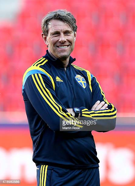 Hakan Ericson head coach of Sweden looks on during a training session ahead of the UEFA European Under21 final match against Portugal at Eden Stadium...
