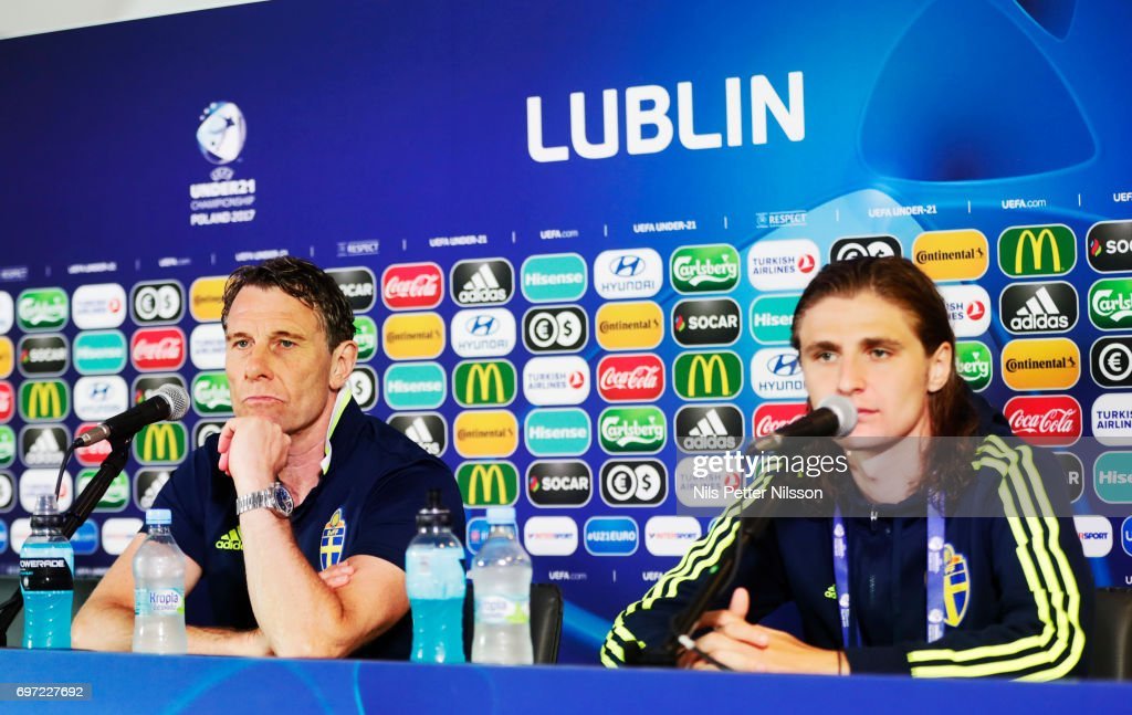 Hakan Ericsson, head coach of Sweden and Pavel Cibicki of Sweden during the Swedish U21 national team MD-1 press conference at Arena Lublin on June 18, 2017 in Lublin, Poland.