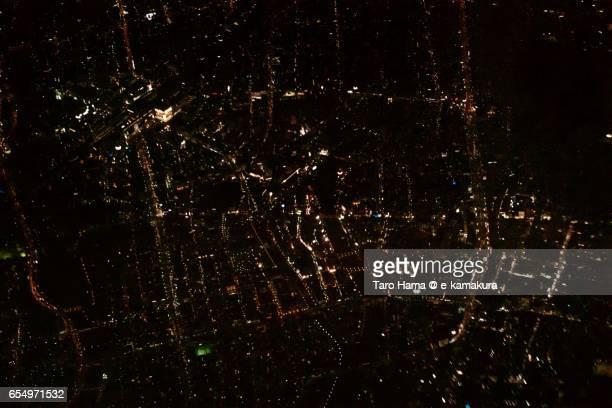 Hakata city, night aerial view from airplane
