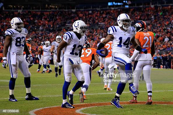 Hakeem Nicks of the Indianapolis Colts celebrates a third quarter touchdown against the Denver Broncos during a 2015 AFC Divisional Playoff game at...
