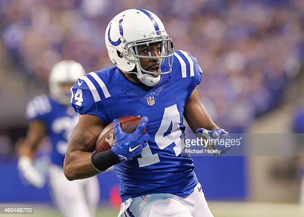 Hakeem Nicks of the Indianapolis Colts runs the ball to score a touchdown against the Houston Texans at Lucas Oil Stadium on December 14 2014 in...