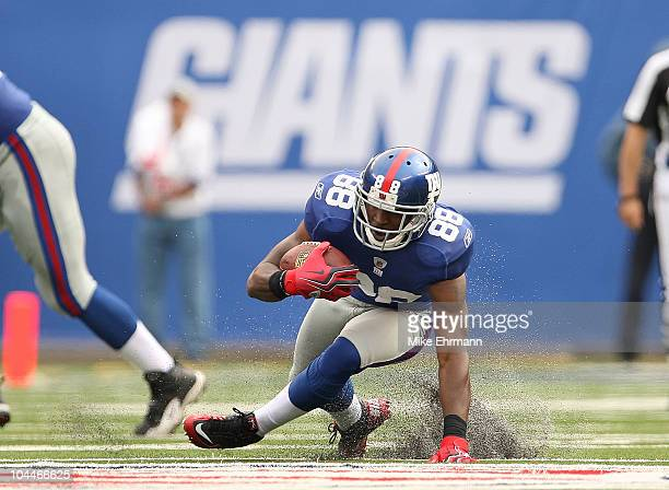 Hakeem Nicks of the New York Giants rushes after a catch during a game against the Tennessee Titans at New Meadowlands Stadium on September 26 2010...
