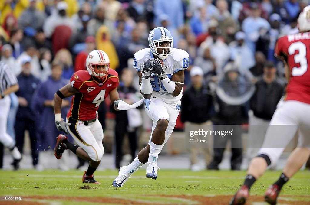 Hakeem Nicks of the North Carolina Tar Heels catches a pass against the Maryland Terrapins November 15 2008 at Byrd Stadium in College Park Maryland