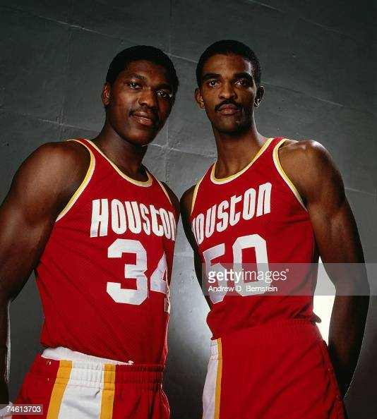 Hakeem Olajuwon and Ralph Sampson of the Houston Rockets pose for a 1984 photo NOTE TO USER User expressly acknowledges that by downloading and or...