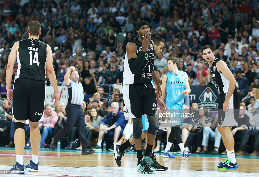 Hakim Warrick of Melbourne United reacts to a foul call by the referee during the NBL Semi Final match between Melbourne United and the New Zealand...