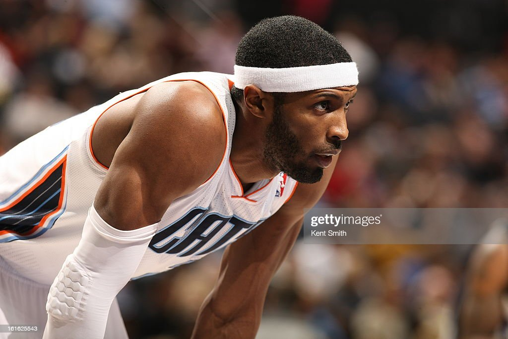 Hakim Warrick of the Charlotte Bobcats awaits a foul shot against the Sacramento Kings at the Time Warner Cable Arena on January 19 2013 in Charlotte...