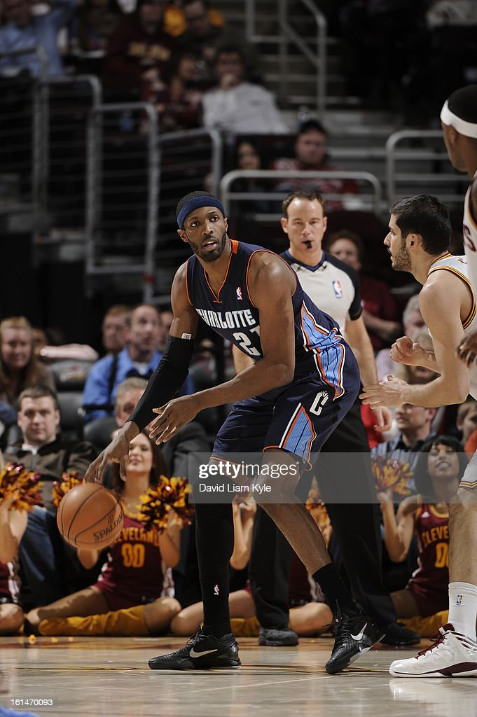 Hakim Warrick #21 of the Charlotte Bobcats dribbles the ball while looking to pass against the Cleveland Cavaliers at The Quicken Loans Arena on February 6, 2013 in Cleveland, Ohio.