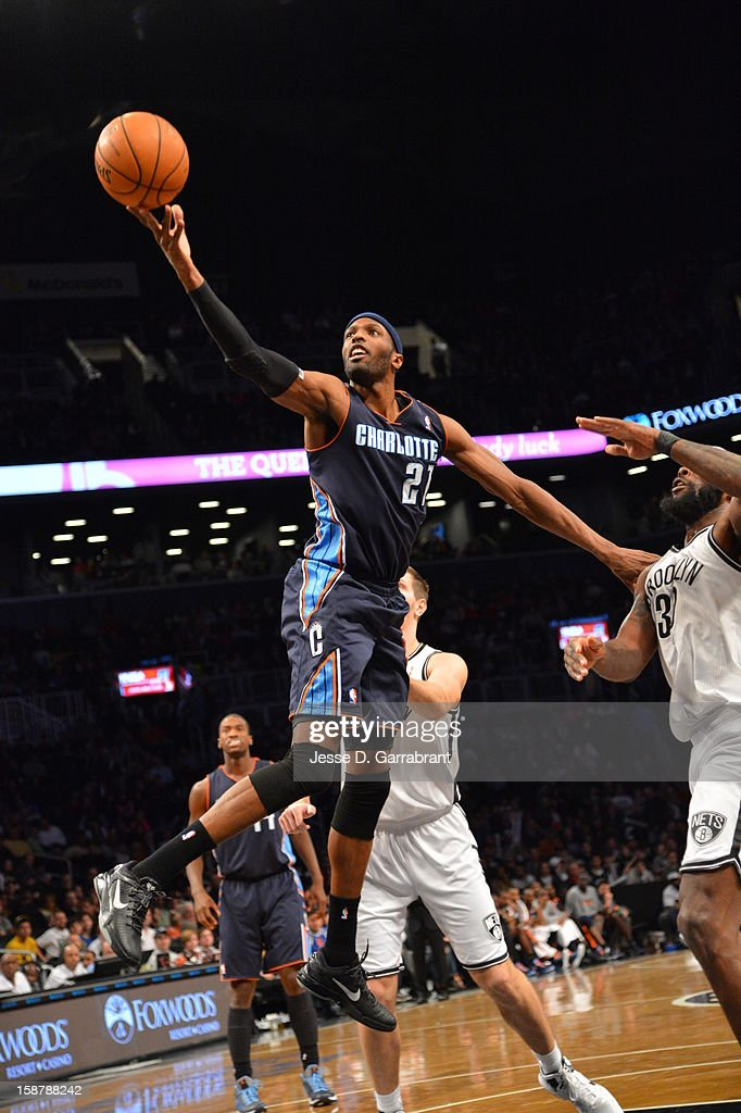 Hakim Warrick #21 of the Charlotte Bobcats drives to the basket against the Brooklyn Nets during the game at the Barclays Center on December 28, 2012 in Brooklyn, New York.