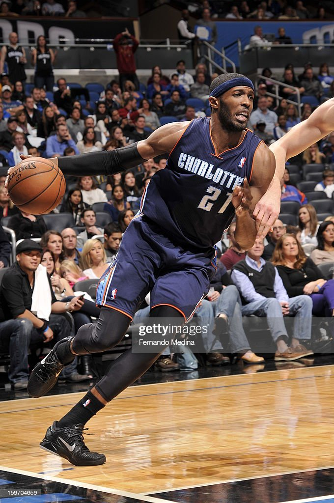 Hakim Warrick of the Charlotte Bobcats drives to the basket against the Orlando Magic on January 18 2013 at Amway Center in Orlando Florida NOTE TO...