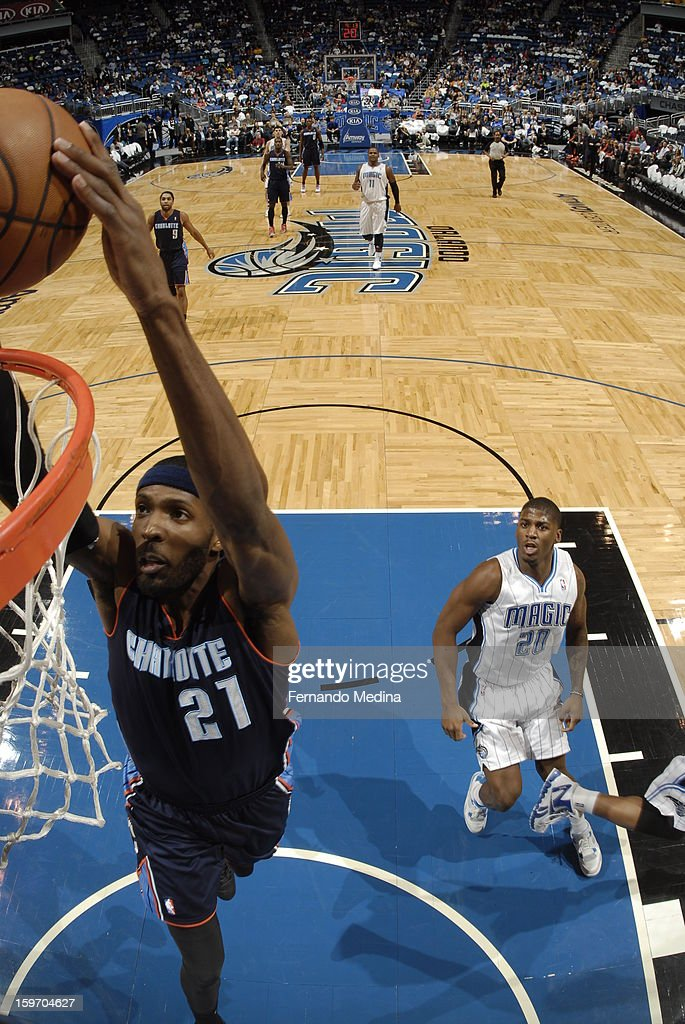 Hakim Warrick #21 of the Charlotte Bobcats dunks against the Orlando Magic on January 18, 2013 at Amway Center in Orlando, Florida.