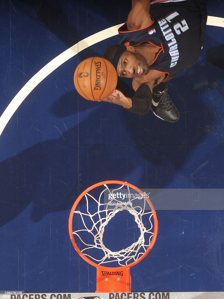 Hakim Warrick #21 of the Charlotte Bobcats goes to the basket during the game between the Indiana Pacers and the Charlotte Bobcats on January 12, 2013 at Bankers Life Fieldhouse in Indianapolis, Indiana.