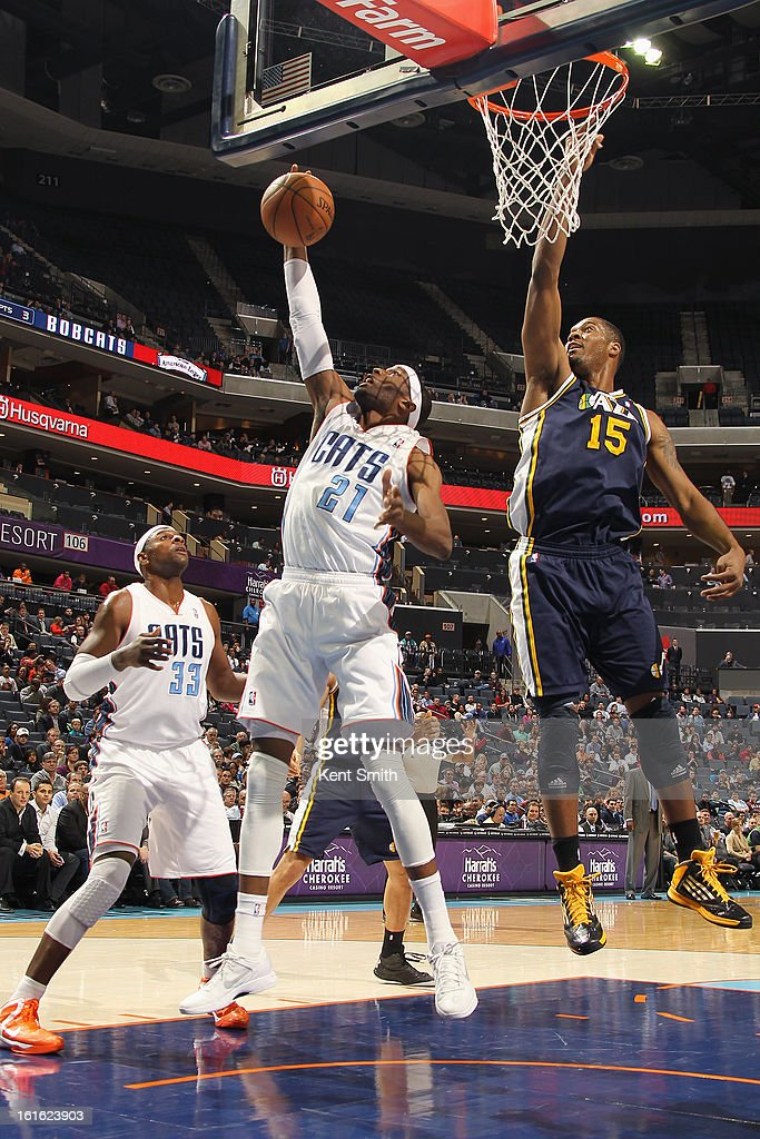 <a gi-track='captionPersonalityLinkClicked' href=/galleries/search?phrase=Hakim+Warrick&family=editorial&specificpeople=210640 ng-click='$event.stopPropagation()'>Hakim Warrick</a> #21 of the Charlotte Bobcats grabs a rebound against the Utah Jazz at the Time Warner Cable Arena on January 9, 2013 in Charlotte, North Carolina.