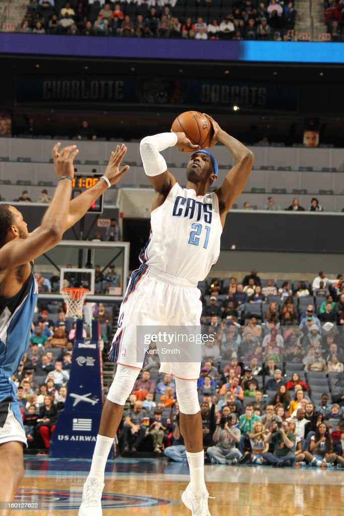Hakim Warrick #21 of the Charlotte Bobcats shoots against the Minnesota Timberwolves at the Time Warner Cable Arena on January 26, 2013 in Charlotte, North Carolina.
