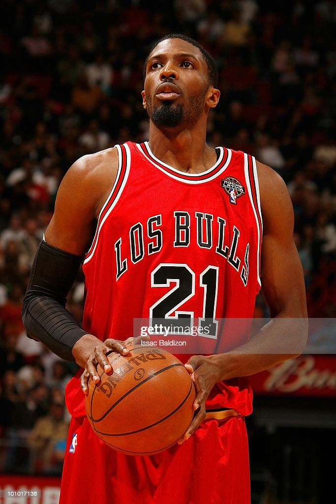Hakim Warrick #21 of the Chicago Bulls shoots a free throw during the game against the Miami Heat on March 12, 2010 at American Airlines Arena in Miami, Florida. The Heat won 108-95.