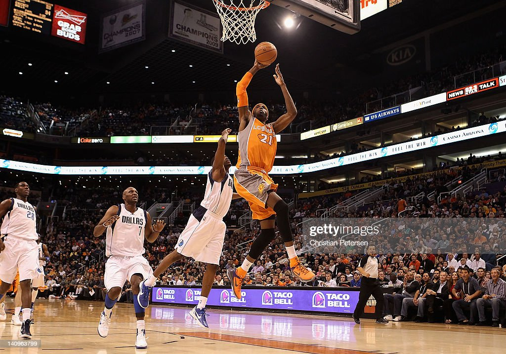 Hakim Warrick of the Phoenix Suns goes up for a slam dunk against the Dallas Mavericks during the NBA game at US Airways Center on March 8 2012 in...