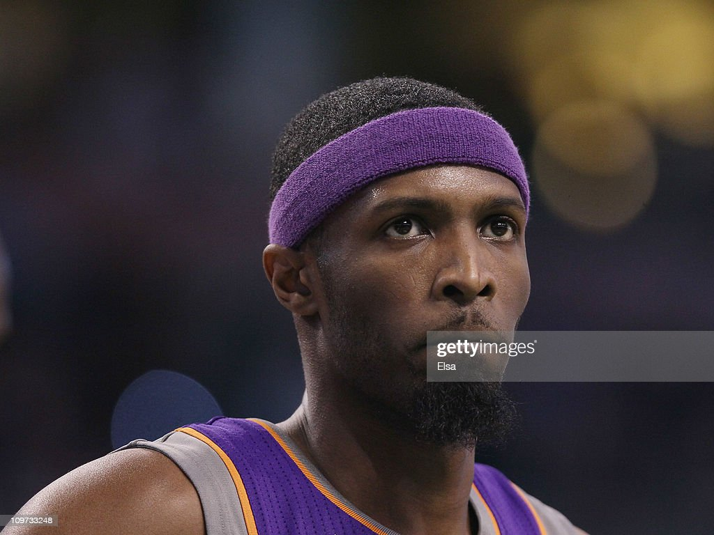 Hakim Warrick of the Phoenix Suns looks on during the game against the Boston Celtics on March 2 2011 at the TD Garden in Boston Massachusetts The...