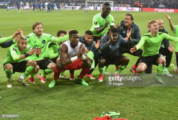 Hakim Ziyech Amin Younes Goalkeeper Andre Onana Justin Kluivert Davinson Sanchez Bertrand Traore and Matthijs de Ligt of Ajax Amsterdam celebrate...