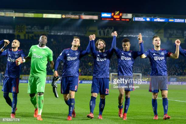 Hakim Ziyech of Ajax Andre Onana of Ajax Klaas Jan Huntelaar of Ajax Lasse Schone of Ajax David Neres of Ajax Joel Veltman of Ajax celebrates the...