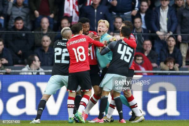 Hakim Ziyech of Ajax Andres Guardado of PSV Jurgen Locadia of PSV Referee Kevin Blom Justin Kluivert of Ajax Santiago Arias of PSVduring the Dutch...