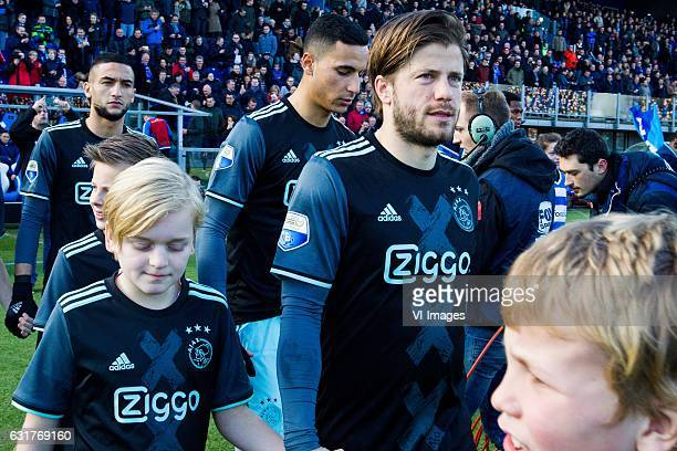 Hakim Ziyech of Ajax Anwar El Ghazi of Ajax Lasse Schone of Ajaxduring the Dutch Eredivisie match between PEC Zwolle and Ajax Amsterdam at the...