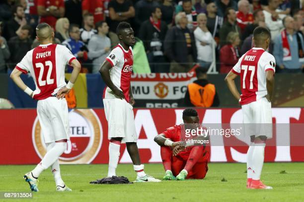 Hakim Ziyech of Ajax Davinson Sanchez of Ajax goalkeeper Andre Onana of Ajax David Neres of Ajaxduring the UEFA Europa League final match between...
