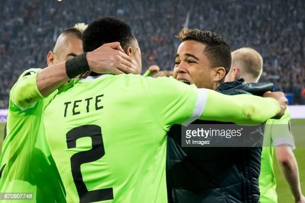 Hakim Ziyech of Ajax Davinson Sanchez of Ajax Justin Kluivert of Ajaxduring the UEFA Europa League quarter final match between Schalke 04 and Ajax...