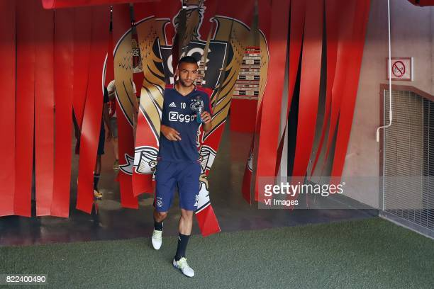 Hakim Ziyech of Ajax during a training session prior to the third round qualifying first leg match between OGC Nice and Ajax Amsterdam on July 25...